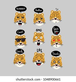 Leopard tiger character with bubble speech vector.