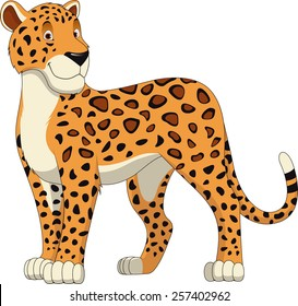 Leopard Walking, wild big cat realistic vector illustration