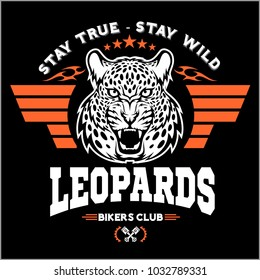 Leopards - custom motors club t-shirt vector logo on dark background. Premium quality bikers band logotype t-shirt emblem illustration. Wild cats - vector set.