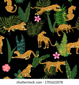 Leopards in different poses with tropical plants leaves flowers seamless pattern. Vector isolated trendy style