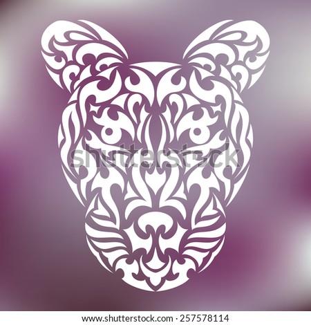 8b0542359 Leopards Head Tribal Design Tattoo Print Stock Vector (Royalty Free ...