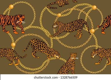 Leopards, tiger and golden chains. Seamless vector pattern with animals and jewel elements. Safari textile collection. On beige backgound.