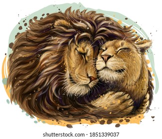 Leos. A lion embraces a lioness. Color, digital portrait of lions in love in watercolor style on a white background. Digital vector graphics. Separate layer