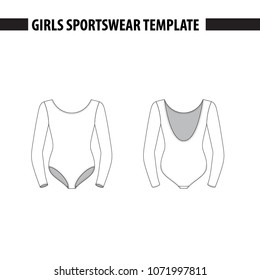 Girls' leotard with long sleeves. Vector template, mockup for sample demonstration. Kids leotard, sport suit for gymnastics, acrobatics, dance. Vector illustration in outlines.