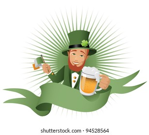 Leprechaun Banner EPS 8 vector, grouped for easy editing. No open shapes or paths.