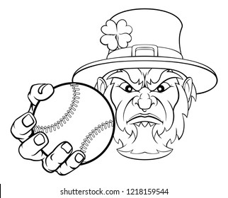 A leprechaun baseball sports mascot holding a ball