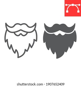 Leprechaun beard line and glyph icon, St. Patricks day and holiday, mustache with beard vector icon, vector graphics, editable stroke outline sign, eps 10