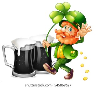Leprechaun and black beer illustration