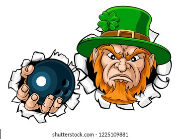 A leprechaun bowling sports mascot holding a ball and tearing through the background.