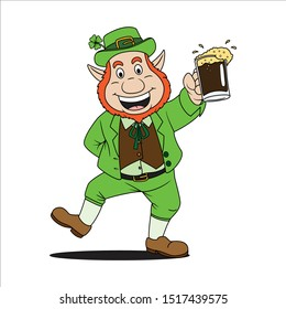 leprechaun cartoon character vector drawing, mascot character holding a glass of beer