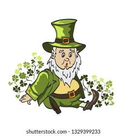 Leprechaun cartoon waving hand. Vector Illustration of a Cartoon Leprechaun Wearing a Green Suit