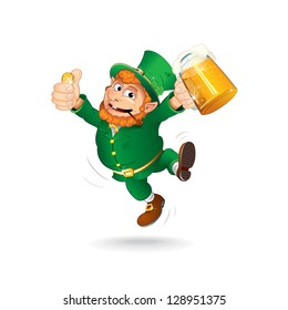 Leprechaun Celebrating Saint Patrick's Day. Jumping Leprechaun with Beer and a Golden Coin. Isolated Vector Illustration.