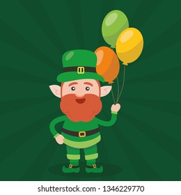 Leprechaun with clover for good luck. dwarf vector for a party in honor of St. Patrick's Day.
