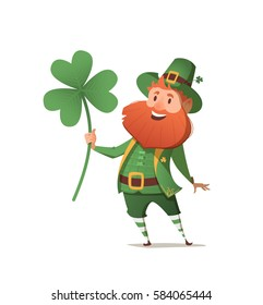 Leprechaun with clover for good luck. dwarf vector for a party in honor of St. Patrick's Day. Invitation to the pub.
