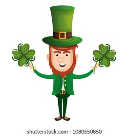 leprechaun with clovers leafs avatar character icon