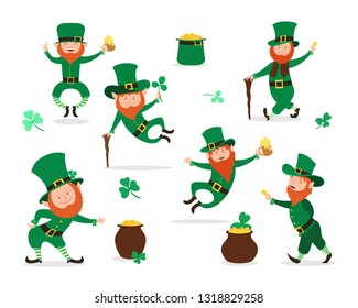 Leprechaun collection for Saint Patrick Day design. Cute Irish fairytale character set.