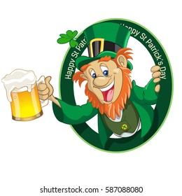 leprechaun with cup of beer