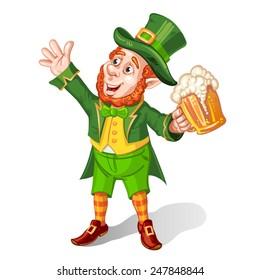 Leprechaun Drinking Beer-St. Patrick's Day Cartoon
