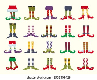 Leprechaun feet flat cartoon vector illustrations set. Elf shoes and striped stockings icons collection. Christmas dwarf legs in funny boots isolated on white background. Christmas gnome bundle