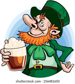 Leprechaun with glass of beer. Eps8. CMYK. Organized by layers. Gradients free.