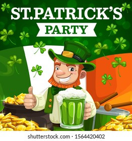 Leprechaun with green beer and pot of gold vector design of St Patrick irish holiday party invitation. Shamrock or clover leaves, Ireland flag and golden coins, celtic elf with red beard, hat and drum