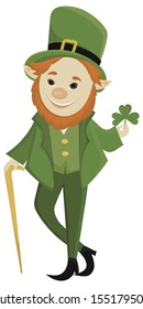 Leprechaun in green frock coat and top hat with four-leaf clover. Saint Patrick´s Day card. Traditional Irish holiday character.Vector illustration isolated on a white background.