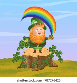 Leprechaun in a green hat stands on a stump and holds in his hand a pile of coins from which the rainbow comes out. Thickets of clover, sky. St.Patrick's Day. Cute vector character and landscape