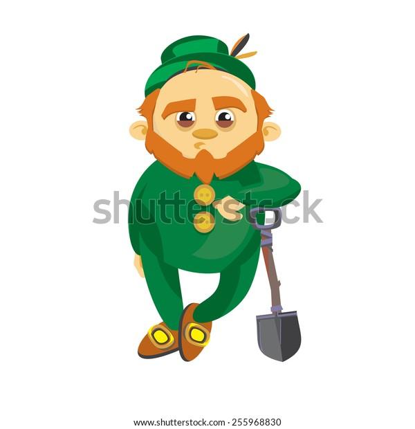 Leprechaun in the green suit leaned on his shovel