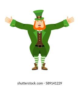 Leprechaun happy. Dwarf with red beard merry Emoji. Irish elf emotions. St.Patrick 's Day. Holiday in Ireland