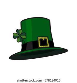 Leprechaun hat with clover quatrefoil. Vector illustration
