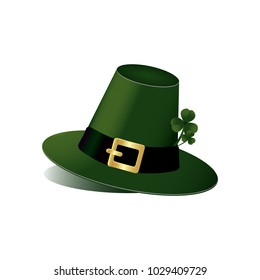 Leprechaun hat with fhree leafed clover on white background. St. Patrick s day, spring, Saint, Patrick, holiday, good luck, object, March 17