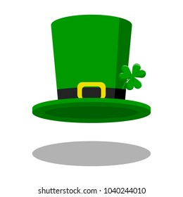 Leprechaun Hat, National Irish hat for dwarf, with green clover. Flat icon for St. Patricks Day.