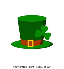 Leprechaun hat with tree leaves clover icon isolated on white background. Traditional Saint Patricks day carnival gnome green cylinder shamrock costume. Flat design cartoon vector illustration.