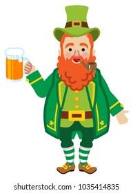 Leprechaun holding a Beer mug -Front view