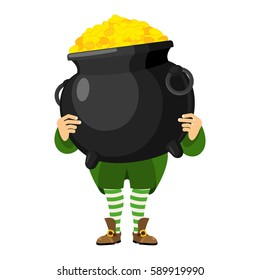 Leprechaun holding pot of gold. Dwarf with red beard and boiler of golden coins. Legendary treasures for lucky. St.Patrick 's Day. Holiday in Ireland