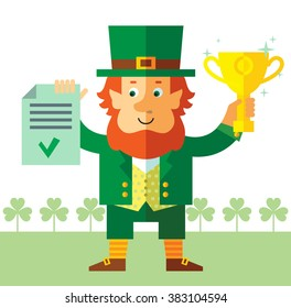 Leprechaun  holding winning trophy and check list. Flat style vector illustration   Symbol Saint Patrick's Day
