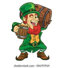 Leprechaun holding wooden beer mug and carrying barrel