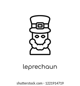 Leprechaun icon. Trendy modern flat linear vector Leprechaun icon on white background from thin line Fairy Tale collection, editable outline stroke vector illustration