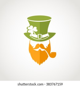 leprechaun irish hat patrick st logo day vector beard clover irish leprechaun flat logo for greeting card template of st patrick's day leprechaun irish hat patrick st logo day vector beard clover happ