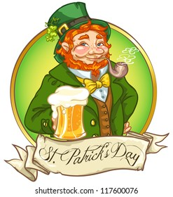 Leprechaun, Irish man with beer, St. Patrick's Day logo design with space for text, isolated