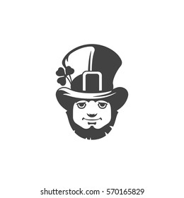 Leprechaun Isolated on white background vector icon in retro style. Can be used for logo or badge.