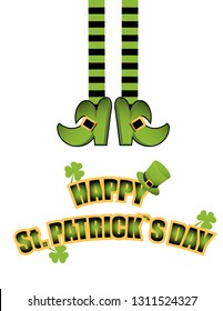 Leprechaun legs of leprechaun in stockings and shoes. Happy St. Patrick Day greeting card. Banner. Poster.