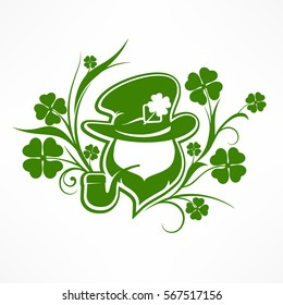 Leprechaun lucky symbols on white. Saint Patricks Day leprechaun with pipe. Beard. Hat and clover herb design elements. Vector illustration