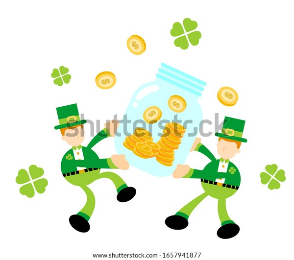 leprechaun and money coin flat design illustration good use for presentation