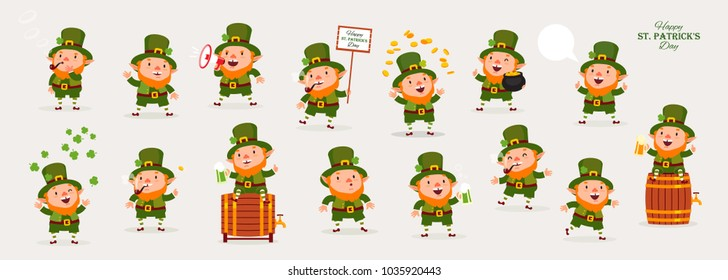 Leprechaun, Patricks Day, Great Collection of Emotional Characters in Different Situations, Isolated Objects for Design, Vector Illustration, Large Set