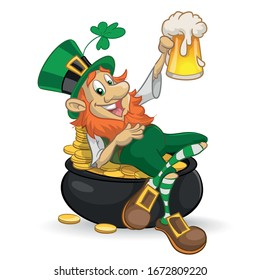 leprechaun in a pot with coins and a beer