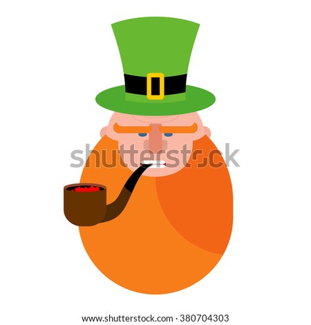 dab947ef079 leprechaun with Red Beard. Portrait of angry elf. Pipe and Green Hat  cylinder. Serious dwarf. Illustration for St. Patricks day in Ireland -  Vector