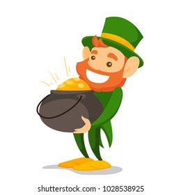 Leprechaun with red beard wearing green costume and hat and holding pot of gold coins. Saint Patrick Day and fairytale concept. Vector cartoon illustration isolated on white background. Square layout.