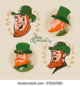 leprechaun set, Irish man head, beard, St. Patrick's Day design, cartoon character portrait, for your design, vector illustration