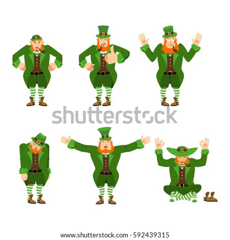 42dd506d162c6 Happy and Sad. Angry and yoga. surprised and winks. Dwarf with red beard. Irish  elf emotions. St.Patrick  s Day. Holiday in Ireland - Vector
